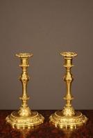 A pair of Louis XIV style ormolu candelabra, 19th century.