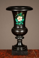 A decorative Italian black marble urn with malachite inlay, circa 1880