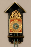 A good Dutch Geldern polychrome painted alarm 'stoelklok', by Goslink Ruempol, 1746