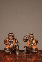 A set of two probably Japanese carved boxwood 'satyr' figures, circa 1880.