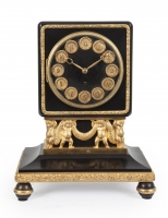 An Art-Deco black marble gilt bronze mantel clock Lenzkirch, ca 1925