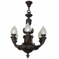 A very heavy bronze, late 19th century, 6-light chandelier of very good quality.