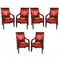 A set of six very fine Empire mahogany fauteuils à la Reine.