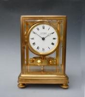 Gilt Atmos clock, J. L. Reutter, enamel dial, nr. 337, France ca. 1930.