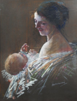 Moeder met kind - Simon Willem Maris - Simon Willem Maris