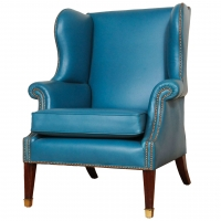 Lovely brightblue leather upholstered English wingchair.