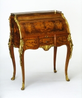 A fine amaranth, rosewood and fruitwood marquetry and parquetry 'bureau de dame' by Sormani, Paris