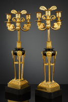 Pair of French Empire three-light Candelabras