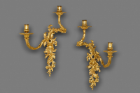 Pair of French gilt bronze Louis XV wall sconces