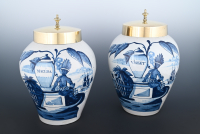 A pair VOC tabaccojars in Dutch Delft ware