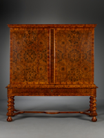 Dutch olivewood Louis XIV cabinet on stand