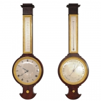 A French Empire mahogany wall clock and a barometer (near pair), by Lesieur, circa 1820