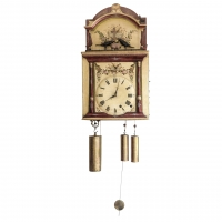 A rare German Black Forest musical organ wall clock with bird automaton, circa 1820