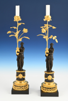 A pair of French Fire-gilt  and patinated bronze Candelabra
