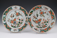 A pair of Chinese Famille Verte plates
