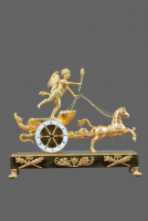 A French Empire ormolu bronze chariot mantel clock 'Char D'Amour' - Jean Simon Deverberie