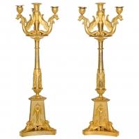 A pair of French Empire ormolu four-light candelabra, circa 1810
