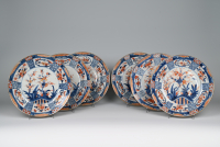 A set of six porcelain Chinese Imari dishes