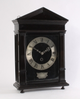 An early Dutch ebony and silvered 'Hague clock', by Christiaan Reynaert Haghe, circa 1665