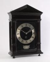 An early Dutch ebony and silvered table klok, so-called 'Hague clock', by Christiaan Reynaert Haghe, circa 1665