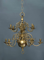A twelve-light Dutch bulb chandelier