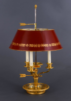 A bronze ormolu Empire Bouillotte lamp