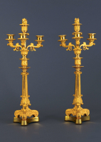 A pair of four-light restauration candelabra, around 1840