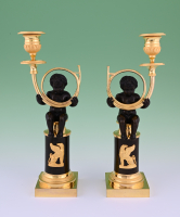 A pair Empire candle sticks