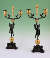 A pair of  ormolu bronze Empire candelabras
