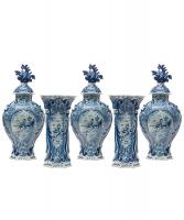 A Garniture in Blue Dutch Delftware