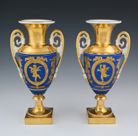 A pair of Empire porcelain vazes