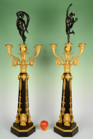 A pair of large ormolu bronze Empire candelabras