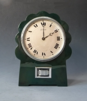 Green Art Deco model Atmos clock, No LG 4, J. L. Reutter, France ca. 1930.