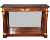A French Empire ormolu-mounted mahogany console table with portor marble top, circa 1815