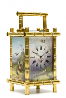 A fine French gilt brass porcelain mounted bamboo case carriage clock, circa 1880.