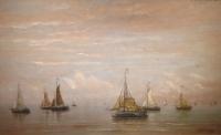 Many ships on a calm sea (blue tones)