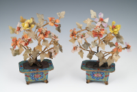 A pair of Chinese cloisonné planters with jade flower tree