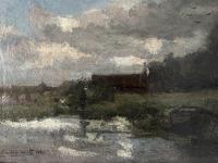 Piet van Wijngaerdt, olieverf op doek met titel 'Amstellande' - Petrus Theodorus (Piet) van Wijngaerdt