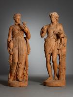 Paar Franse Empire terracotta sculpturen