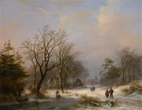 WINTERLANDSCAPE with frozen lake and figures
