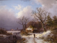 WINTERLANDSCAPE, farmhouse and walking figure with a dog