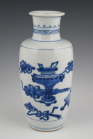 A Chinese porcelain rouleau vase