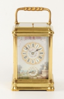 A French porcelain mounted gilt brass carriage alarm clock,circa 1880