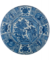 A Blue and White Dutch Delft 'Kraak'-Style Large Dish