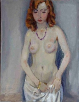 Standing nude with veil. 20th century Dutch painting.