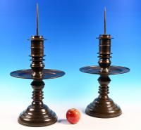 An impressive pair of Dutch colonial candlesticks