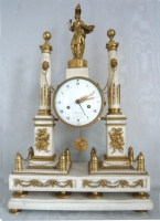 A very fine Louis XVI portico marble clock with Pallas Athena, gilt bronze and white mantle, Herman à Paris. France ca. 1780.