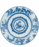 Blue and White 'Chinoiserie' Dutch Delft Large so Called 'Cardinals' Charger