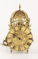 A French brass lantern alarm timepiece by B J Lefebvre A Paris, circa 1740.