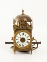A lovely miniature French brass lantern alarm wall timepiece, circa 1740